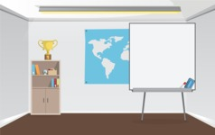 Room Backgrounds Vector Collection - Business Room with Whiteboard for Presentations