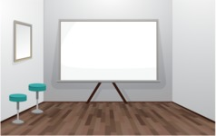 Room Backgrounds Vector Collection - Vector Office Room with Whiteboard
