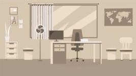 Room Backgrounds Vector Collection - Monochrome Office Room Vector Illustration