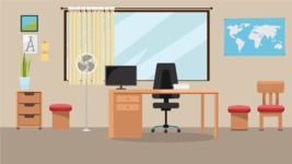 Room Backgrounds Vector Collection - Office Room Vector Illustration
