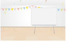 Room Backgrounds Vector Collection - Room With Party Decoration Vector Background