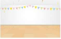 Room Backgrounds Vector Collection - Empty Room with Party Decoration Vector Background