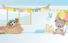 Room Backgrounds Vector Collection - Vector Kid's Birthday Party Interior Background