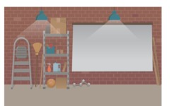 Room Backgrounds Vector Collection - Basement Interior Vector Background