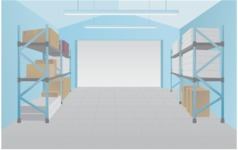 Room Backgrounds Vector Collection - Warehouse Interior Vector Background