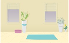 Room Backgrounds Vector Collection - Yoga Room Interior Vector Background