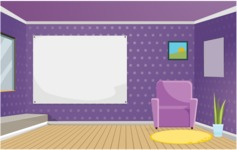 Room Backgrounds Vector Collection - Colorful Room Vector Background
