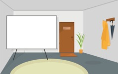 Room Backgrounds Vector Collection - Vector Room with Presentation Board