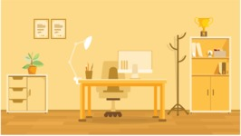 Room Backgrounds Vector Collection - Golden Office Room Vector Illustration