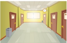Room Backgrounds Vector Collection - Colorful School Hallway Vector Background