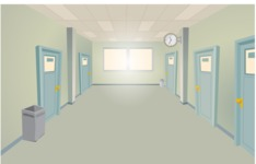 Room Backgrounds Vector Collection - Vector Empty School Hallway Background