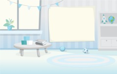 Room Backgrounds Vector Collection - Cartoon Preschool Vector Background Illustration