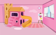 Room Backgrounds Vector Collection - Kid Girl Room Interior Background Illustration
