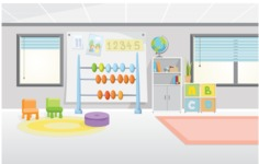 Room Backgrounds Vector Collection - Colorful Playroom Vector Background Illustration