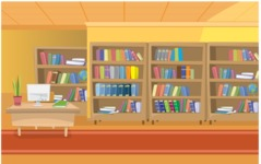 Room Backgrounds Vector Collection - School Library Vector Background