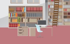 Room Backgrounds Vector Collection - Library with Desk Vector Background
