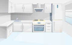 Room Backgrounds Vector Collection - Kitchen Interior Vector Background
