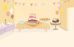Room Backgrounds Vector Collection - Room with Birthday Party Decoration Vector Background