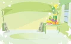 Room Backgrounds Vector Collection - Kid Birthday Party interior Vector Background