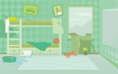 Room Backgrounds Vector Collection - Dirty Kid's Room Interior Vector Background