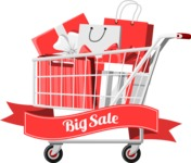 Shopping Cart with Gifts and Bags