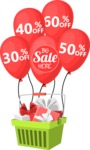 Sale Basket of Gifts and Balloons