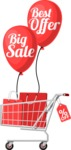 Big Sale Cart with Shopping Bags