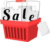 Basket and Shopping Bags Sale Sign