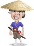 Samurai with Straw Hat Cartoon Vector Character AKA Akechi - Normal