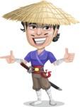 Samurai with Straw Hat Cartoon Vector Character AKA Akechi - Point 2