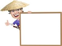 Samurai with Straw Hat Cartoon Vector Character AKA Akechi - Presentation 5