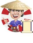 Samurai with Straw Hat Cartoon Vector Character AKA Akechi - Shape 1