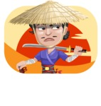 Samurai with Straw Hat Cartoon Vector Character AKA Akechi - Shape 2