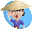 Samurai with Straw Hat Cartoon Vector Character AKA Akechi - Shape 3