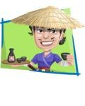 Samurai with Straw Hat Cartoon Vector Character AKA Akechi - Shape 4