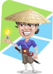 Samurai with Straw Hat Cartoon Vector Character AKA Akechi - Shape 5