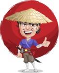Samurai with Straw Hat Cartoon Vector Character AKA Akechi - Shape 6
