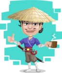Samurai with Straw Hat Cartoon Vector Character AKA Akechi - Shape 7