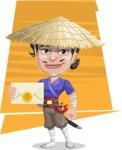 Samurai with Straw Hat Cartoon Vector Character AKA Akechi - Shape 8