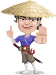 Samurai with Straw Hat Cartoon Vector Character AKA Akechi - Direct Attention