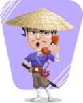 Samurai with Straw Hat Cartoon Vector Character AKA Akechi - Shape 10
