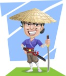 Samurai with Straw Hat Cartoon Vector Character AKA Akechi - Shape 11