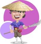 Samurai with Straw Hat Cartoon Vector Character AKA Akechi - Shape 12
