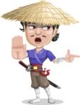 Samurai with Straw Hat Cartoon Vector Character AKA Akechi - Direct Attention 2