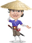 Samurai with Straw Hat Cartoon Vector Character AKA Akechi - Sorry