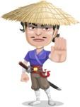 Samurai with Straw Hat Cartoon Vector Character AKA Akechi - Stop