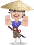 Samurai with Straw Hat Cartoon Vector Character AKA Akechi - Stop 2