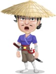 Samurai with Straw Hat Cartoon Vector Character AKA Akechi - Stunned