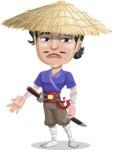 Samurai with Straw Hat Cartoon Vector Character AKA Akechi - Sad