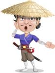 Samurai with Straw Hat Cartoon Vector Character AKA Akechi - Shocked